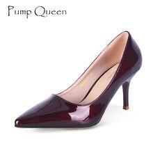 295283aab 2018 Outono Sapatos de Mulher de Couro de Patente Mulheres Bombas Senhoras  Sapatos de Salto Alto Vinho Tinto Couro De Porco Inte.