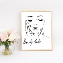 Woman Face Poster Beautiful Eyelashes Make up Prints Beauty Studio Wall Art Decor Canvas Painting Picture Makeup Wall Decoration(China)