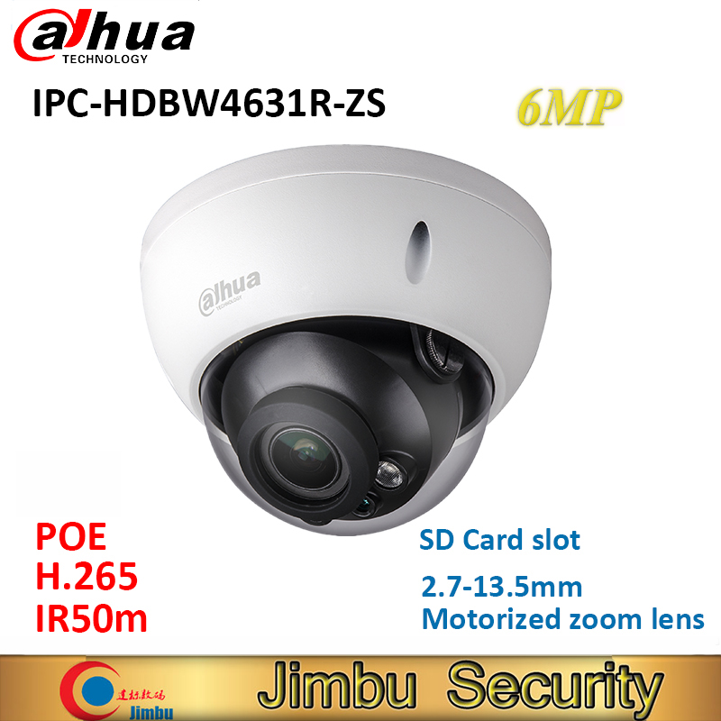 Dahua IPC-HDBW4631R-ZS IP Camera H.265 6MP replace IPC-HDBW4431R-ZS 2.7mm ~13.5mm lens H2.65 IR50 with sd Card slot POE camera dahua h 265 ip camera ipc hdbw4631r s replace ipc hdbw4431r s 6mp poe cctv camera 30m ir 1080p network camera onvif sd card slot