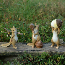 cute squirrel statue collection ornament resin crafts creative figurine garden micro landscape decoration home furnishings - Resin Garden Statues