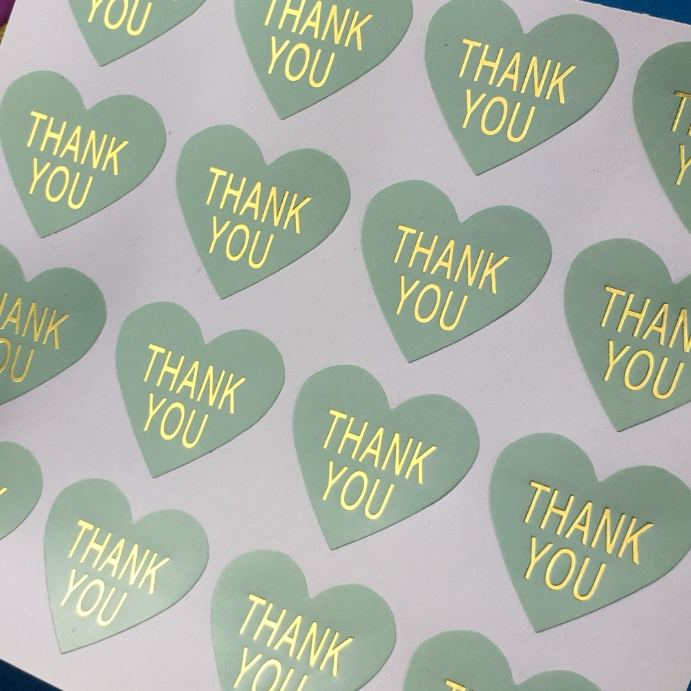 5000PC Lot Mint Green Thermoprinting Gold Sticker Labels Heart Shape THANK YOU Stickers Adhesive Sealing Label