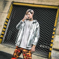 Gold and Silver Hot Stamping Loose Version Hooded Jacket Bar DJ Performance Jacket Male Clothes Hip Hop Mens Jackets and Coats