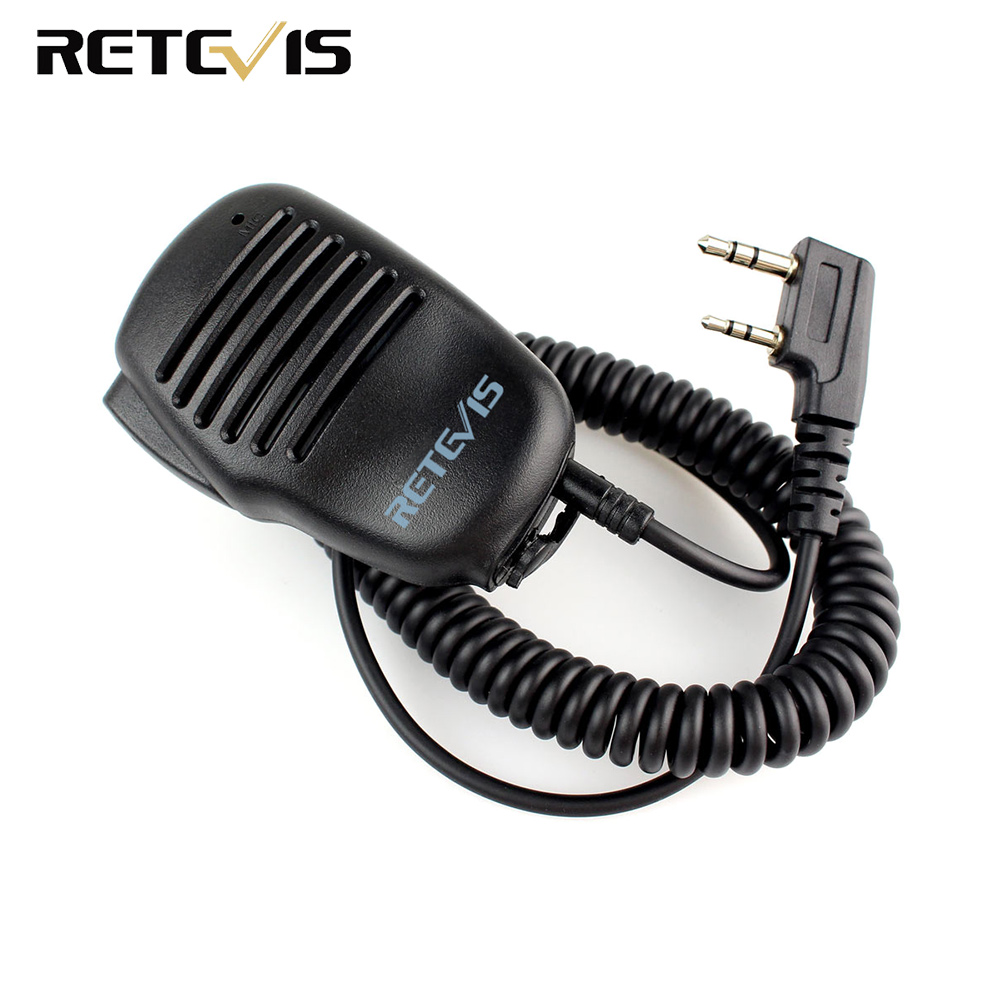 2 Pin PTT Speaker Mic For KENWOOD BAOFENG UV-5R RETEVIS H777 RT5R RT3 RT5 RT80 PUXING TYT Ham Radio Walkie Talkie C9021