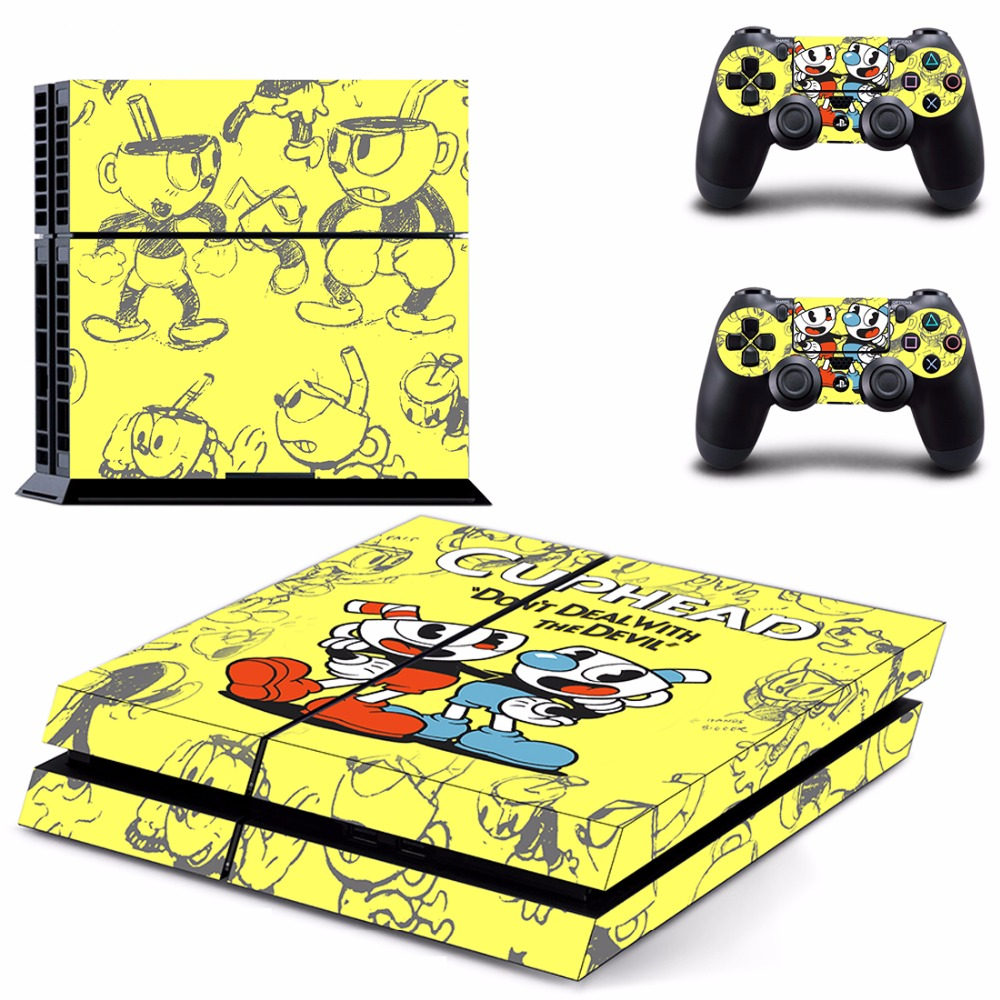 Game Cuphead PS4 Skin Sticker Decal For Sony PlayStation 4 Console and 2 Controllers PS4 Skins Sticker Vinyl