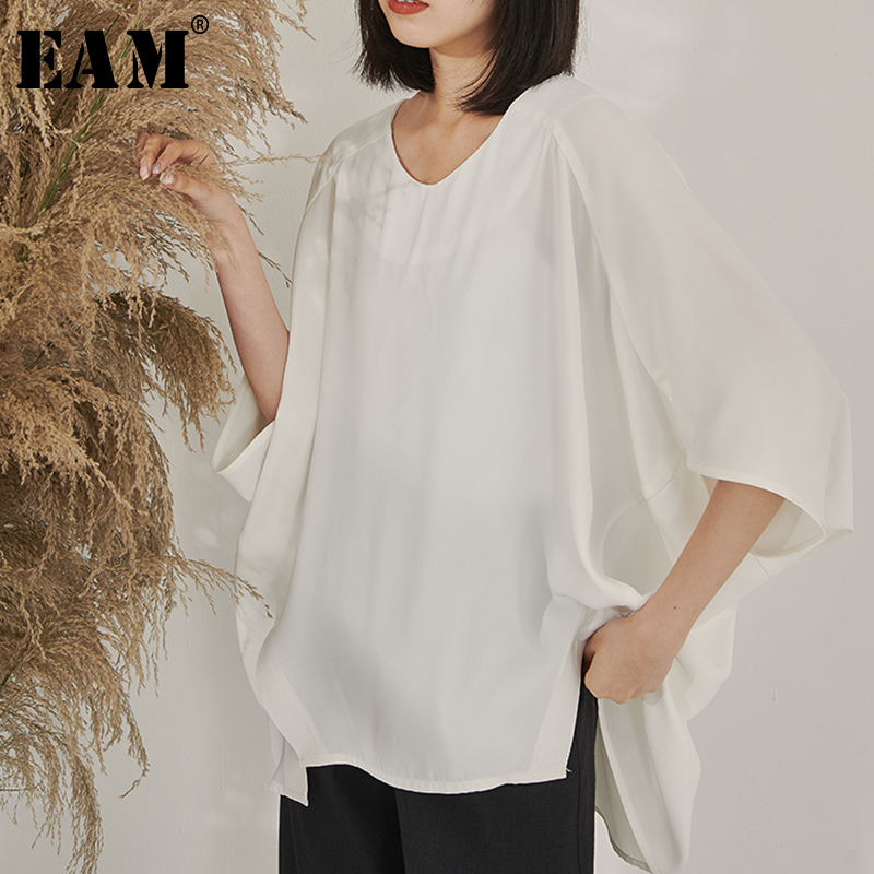 [EAM] 2020 Spring Summer Woman Stylish White Color O-neck Half Sleeve Loose Irregular Big Size Batwing T-shirt All Match LI475