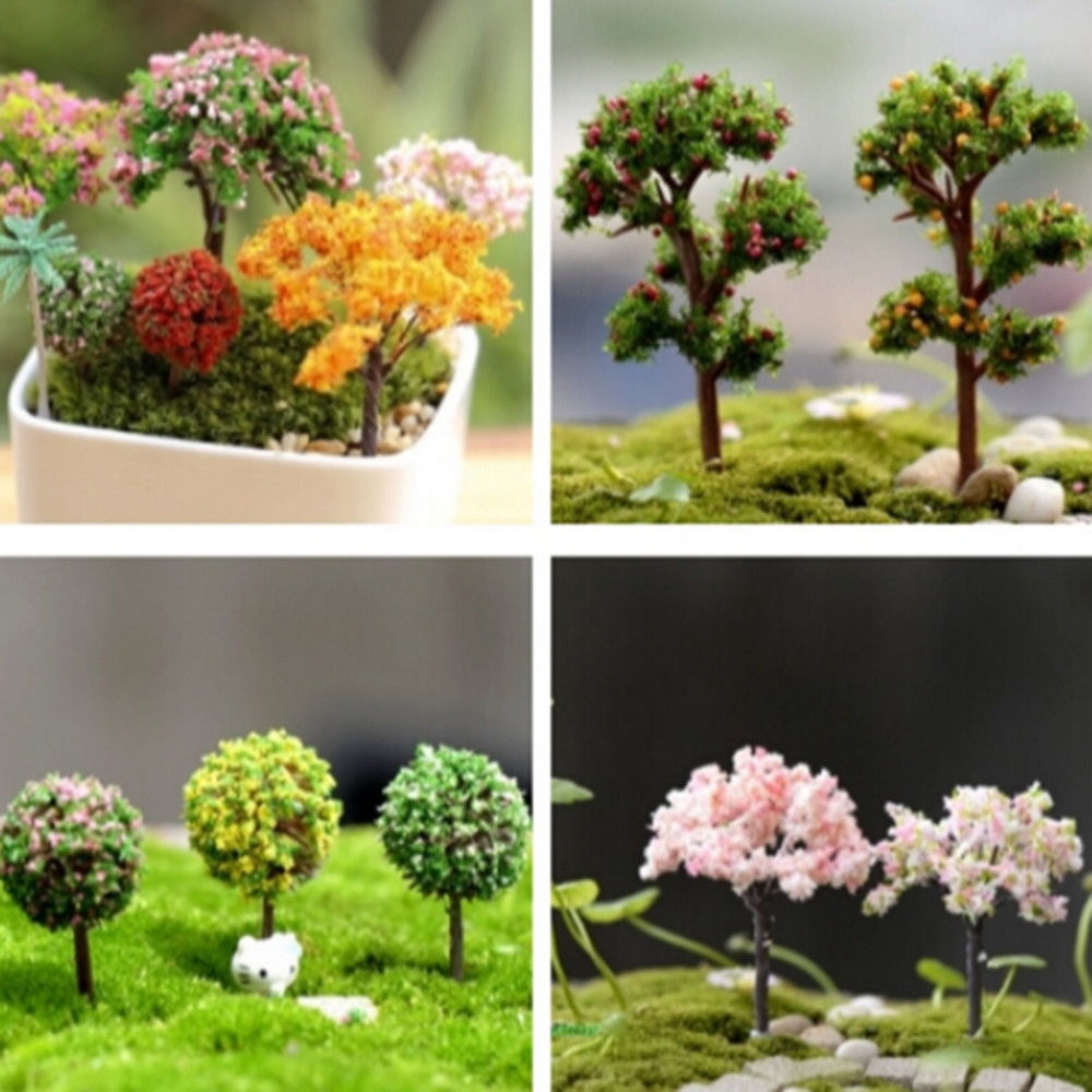 1Pc Mini Fairy Garden Ornament Miniature Resin Artificial Tree Figurine Craft Plant Pot Fairy Bottle Garden Christmas Decor