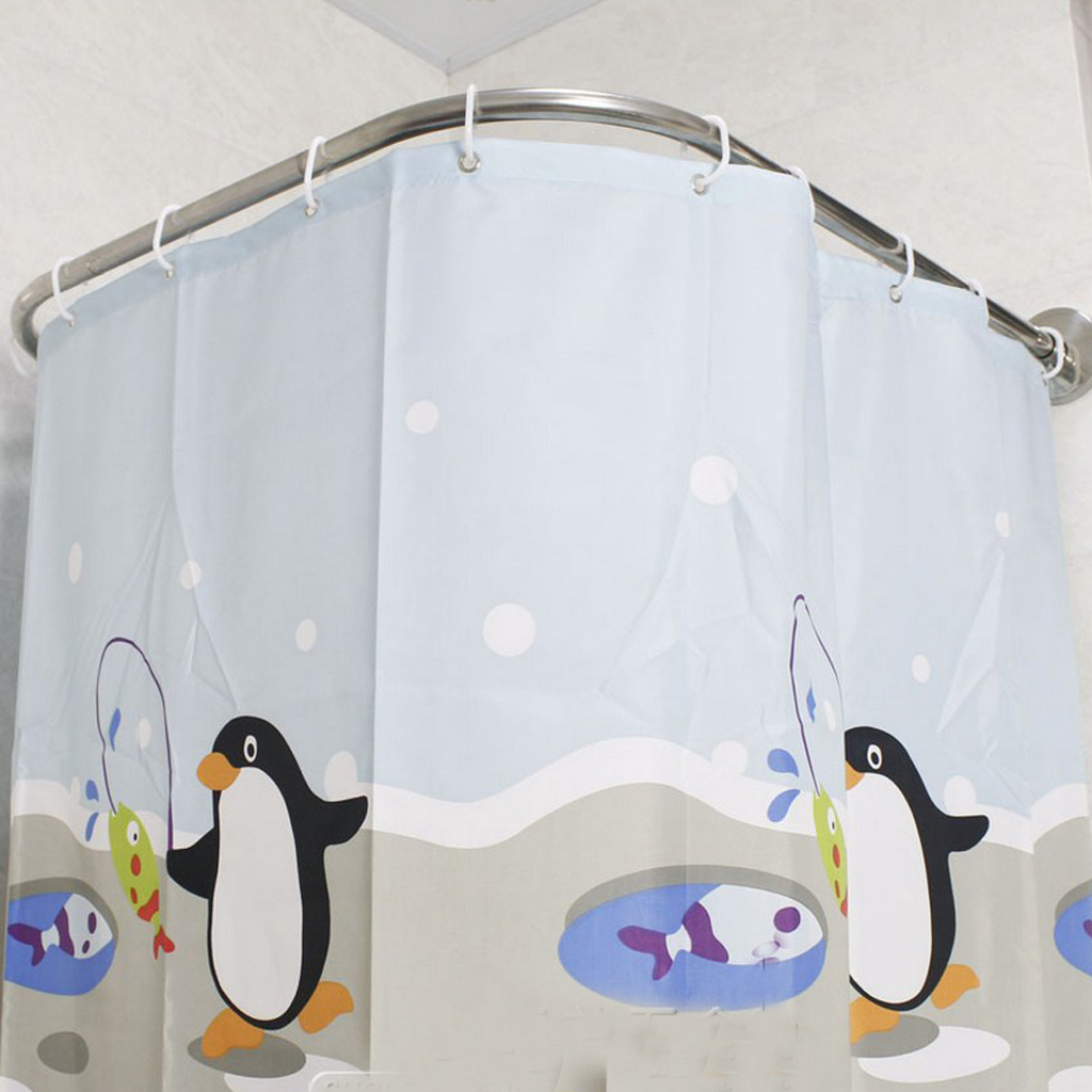 Expandable Curved Shower Curtain Rod 31 47inch Bath Tub Corner Curtain Rail Clip Track Rail Hardware Shower Curtain Poles