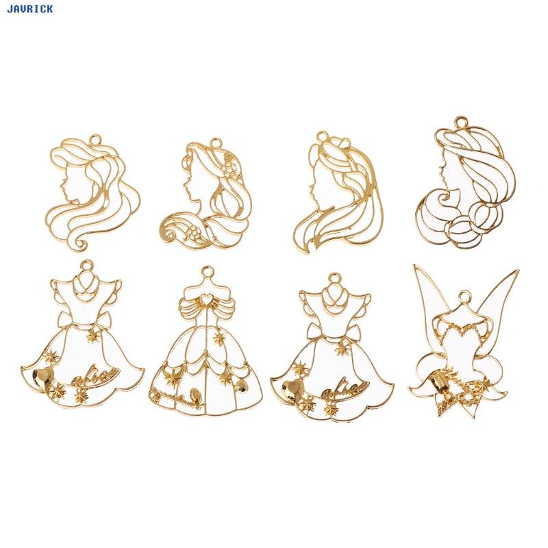 8Pcs Princess Skirts Frame Pendant Bezel Setting Cabochon Setting UV Resin Charm Jewelry DIY Frame Pendants Christmas
