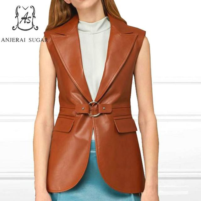 Sheepskin genuine leather jacket women coat female OL Office Turn-down Collar Vest suit brown sexy Sleeveless leather jackets