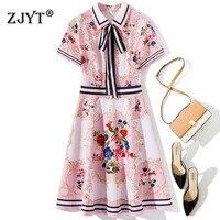 New Fasihon Designer Summer Women Dress High Quality Short Sleeve Bow Tie Cute Floral Print Pink Aline Dress Vestidos