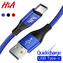 H & A 3A Cable USB tipo C Cable cargador rápido Cable de sincronización de datos tipo C Cable para Samsung S9 cable de carga USB para teléfono S8 Note 9 Huawei Honor(China)