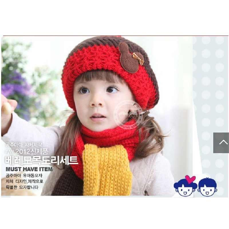 d1aac43280c Knitting Girls Hats scarf sets for Boys Stocking Hat newborn Cap Kids Wool Beanie  Child winter