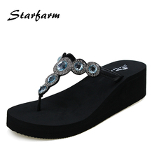 2017 Shoes Women Wedge Summer Flip Flops Funny Sandals Feme Slippers  Crystal Blue Pink Yellow White Purple China Slipper