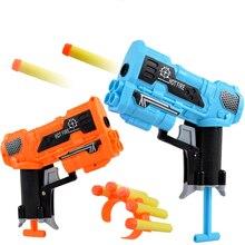 2 шт./компл. пластик игрушечный пистолет для мальчиков оружие EVA Мягкая Пуля игры на открытом воздухе Детская безопасность стрельба цветной пистолет подарки для детей