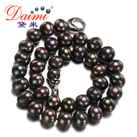 DAIMI Big Size Black Pearl Necklace 11 12mm Freshwater Classic White Pearl Choker Necklace FLIGHT