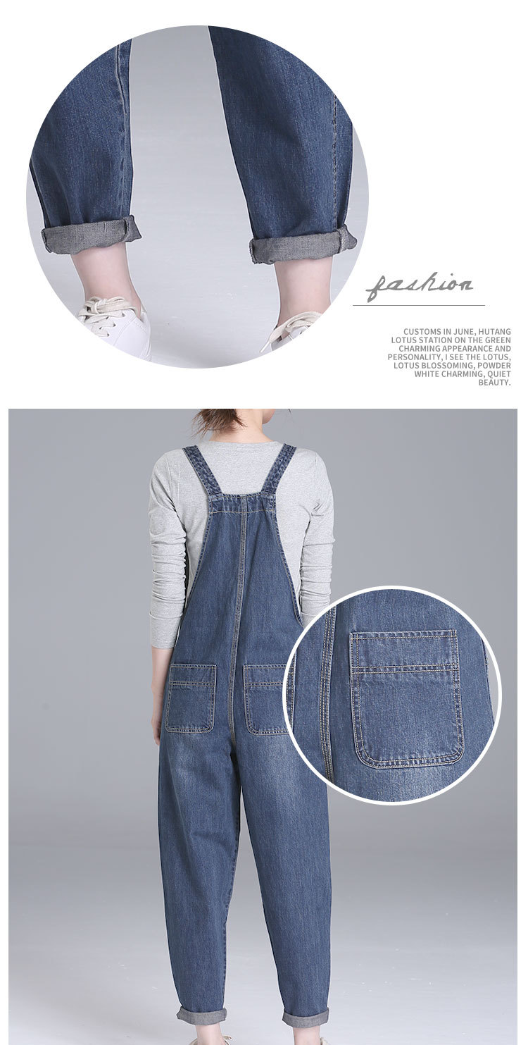 7ade95ca836c6 Plus Size New Women s Casual Loose Denim Overalls Lady s Solid Colors Baggy  Jeans Wide Leg Jumpsuit Pants with Pocket for Woman