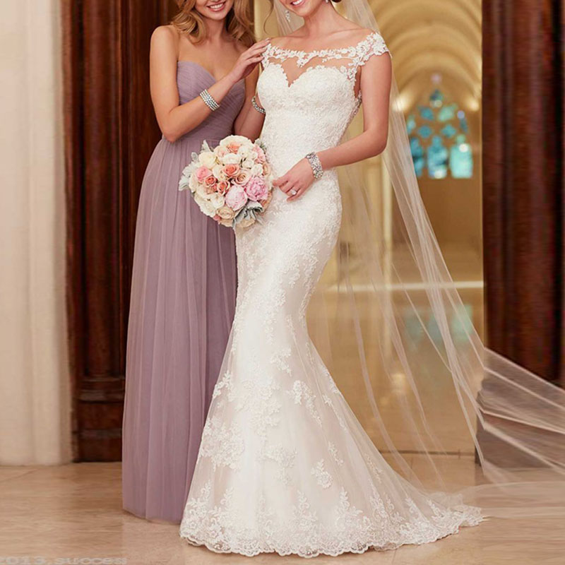 2017 Elegant Scoop Neck Lace Mermaid Wedding dress Plus Size Cap Sleeve Sheer Back Bridal Gown Robe Mariage Vestidos de novia