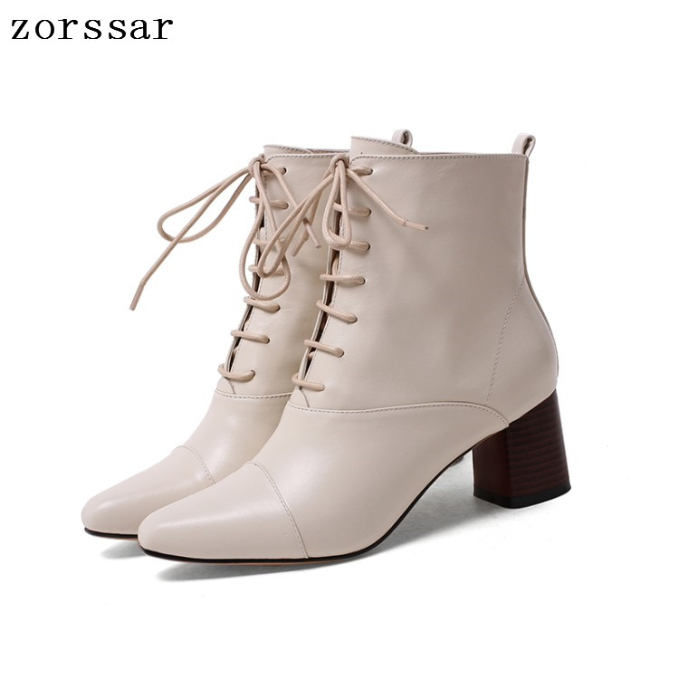 {Zorssar} Fashion vintage style Women Boots Lace up Soft Leather High heel Ankle Boots Women Martin boots Winter Female booties new flower girl dress white ball gown kids pageant dress wedding appliques girls party dress birthday princess dresses aa202