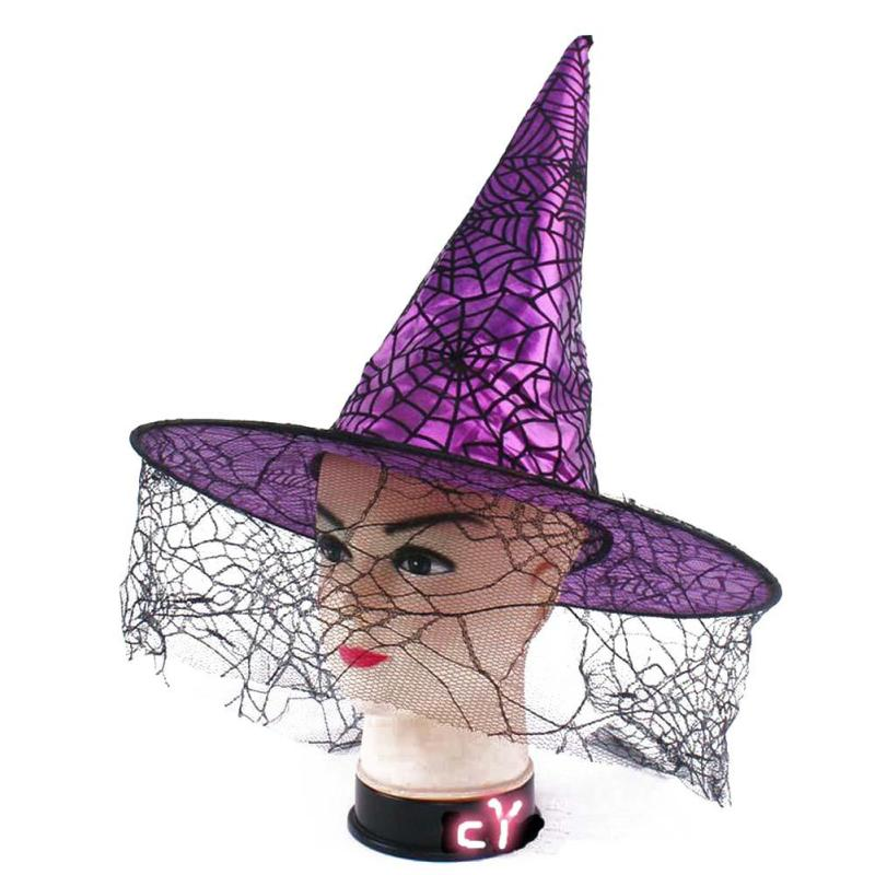 halloween witch hat spider web caps hot sale party supply party decoration halloween party decors adults