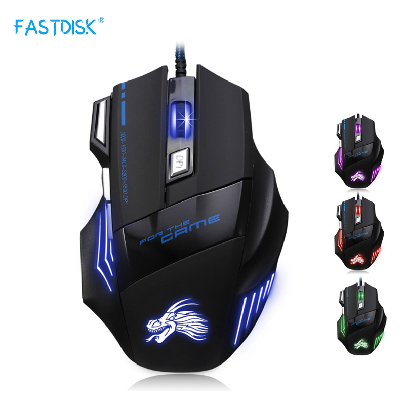Professionel Wired Gaming Mouse 7 Button 5500 DPI LED Optisk USB Gamer Computer Mus Mus Kabel Mus Høj kvalitet