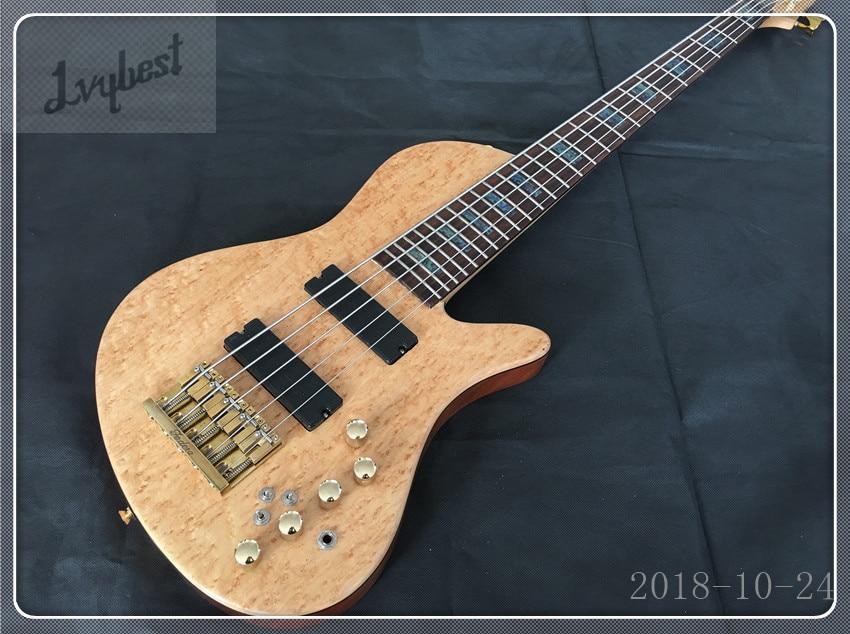 Instrument de musique boutique personnalisée guitare électrique papillon basse 5 cordes or matériel cirucits actifs, livraison gratuite!