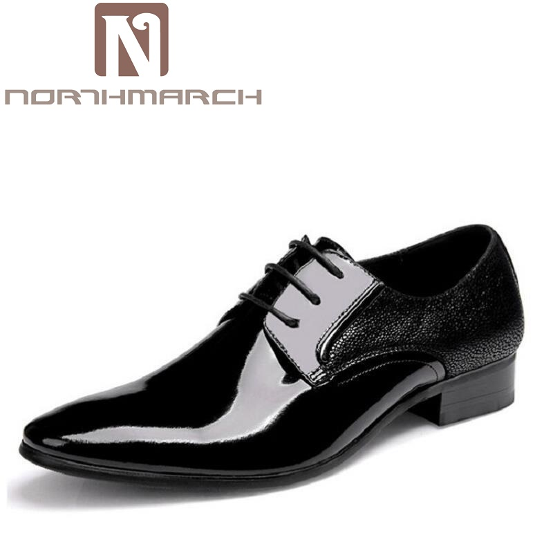 NORTHMARCH 2018 New Office Oxford Shoes Patent Leather Business Dress Shoes Men Flats For Men Zapatos Hombre Black Derby Shoes футболка стрэйч printio occult skull оккультный череп