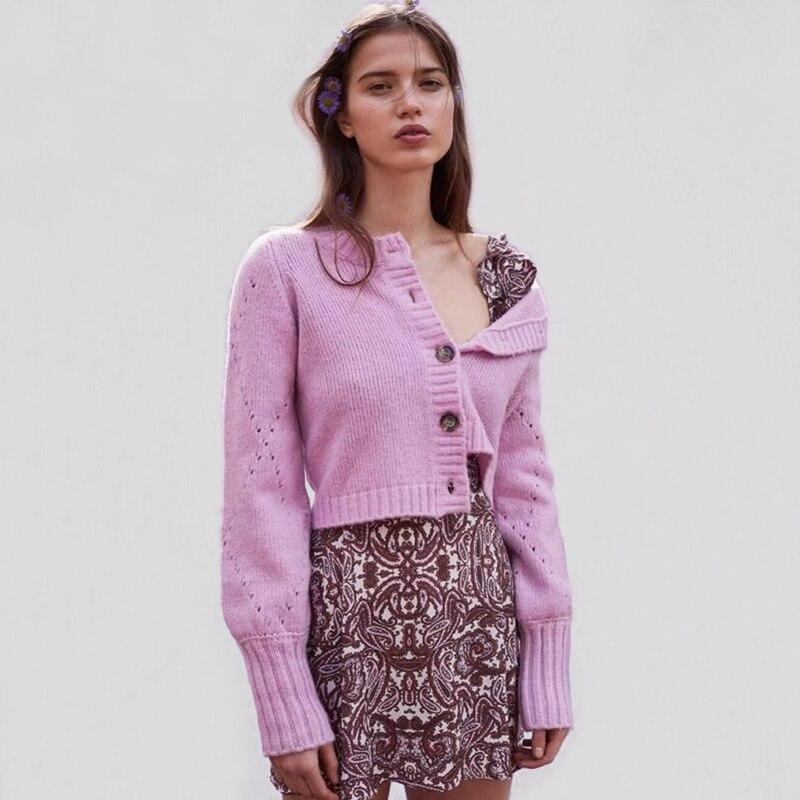 Женский вязаный кардиган с ромбовидными рукавами, укороченный вязаный Топ, свитер, винтажный вязаный кардиган с окантовкой 2019
