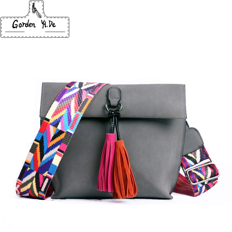 2018 New Women Scrub Leather Design Crossbody Bag Girls With Tassel Colorful Strap Shoulder Bag Female Small Flap Handbag