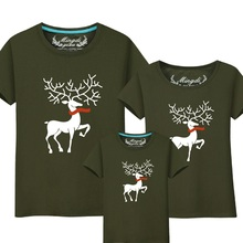 Summer Family Matching Outfits T Shirt For Father& Kids Son Costumes Mother Daughter Baby Clothing Set Baby Clothes Cartoon Deer