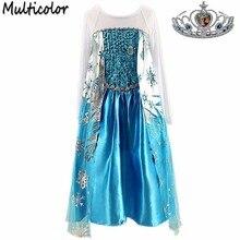 2016 New Girls Children Clothes,Anna Elsa Dress Girl,Baby Elsa Costume Kids Summer Princess Vestidos Infantis Crown Set Dresses