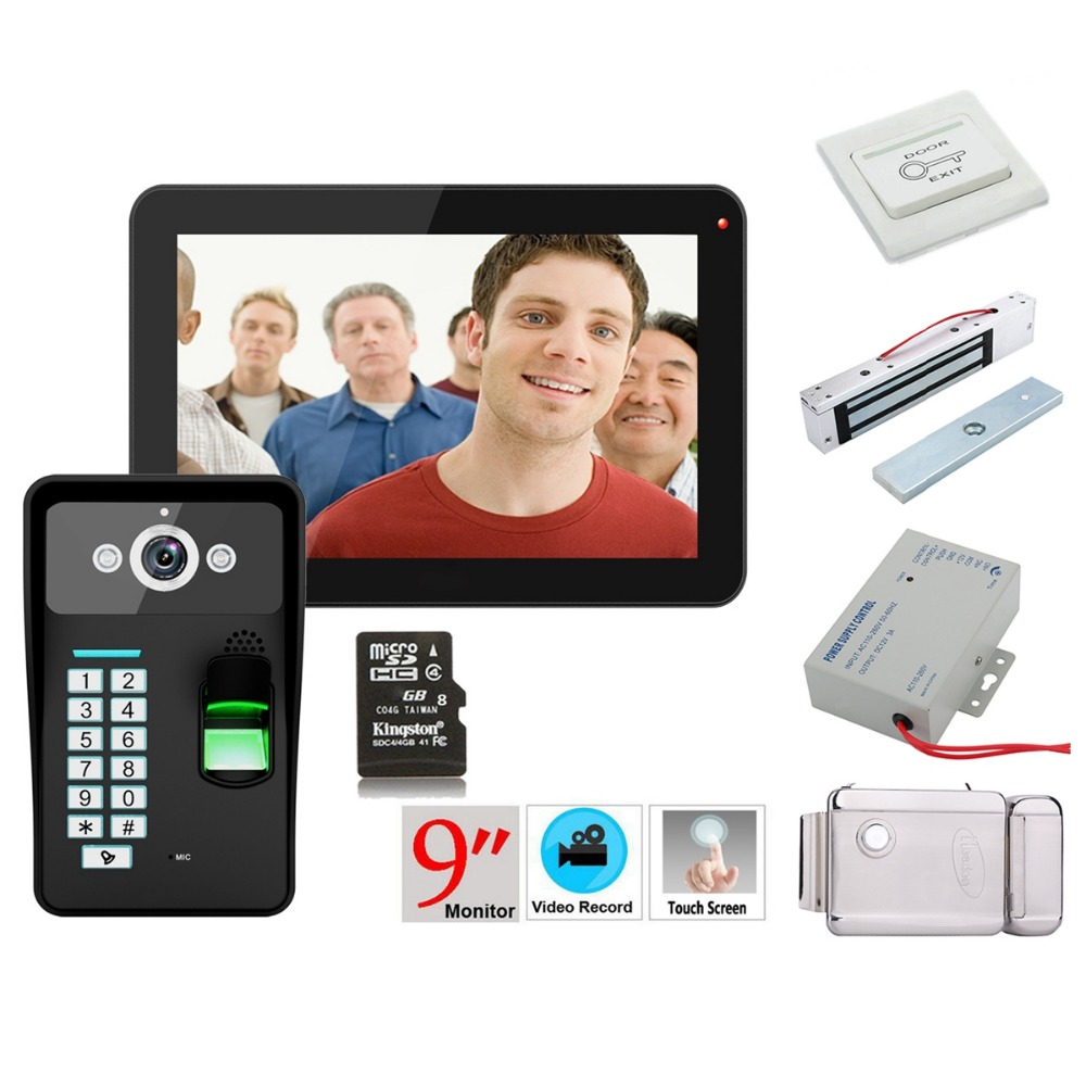 Home Security 9inch Recording RFID Password Fingerprint Recognition 900TVL Color Video Door Phone Intercom Rainproof Night