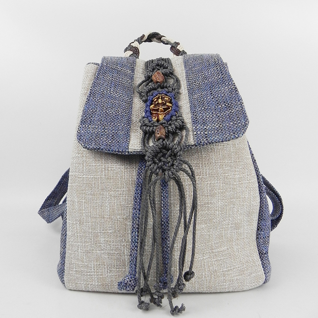 Ethnic Women Handmade Linen Backpack Wax Thread Hand-knitted Hot Sell Tassel Lady Bagback Casual Girl Holiday Gift Travel 19 Bag