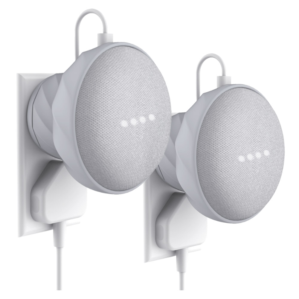 KIWI Design Outlet Wall Mount Holder For Google Home Mini, A Space-Saving Accessories Silicon Case 2Pack