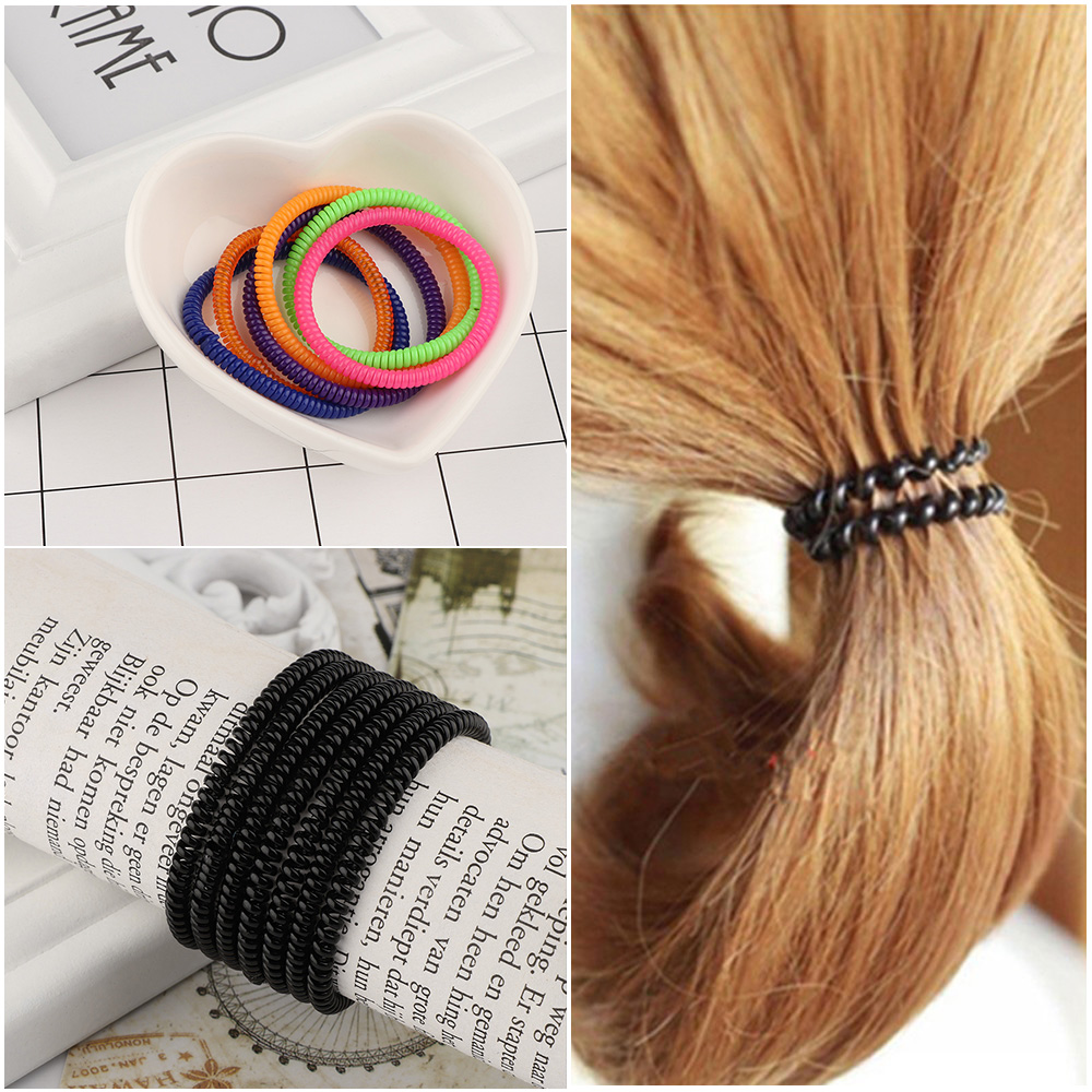 20pcs Super Thin Elastic Hair Ropes Girl Rubber Telephone Wire Style Hair Ties Plastic Ropes Ponytail Holder Hair Accessory