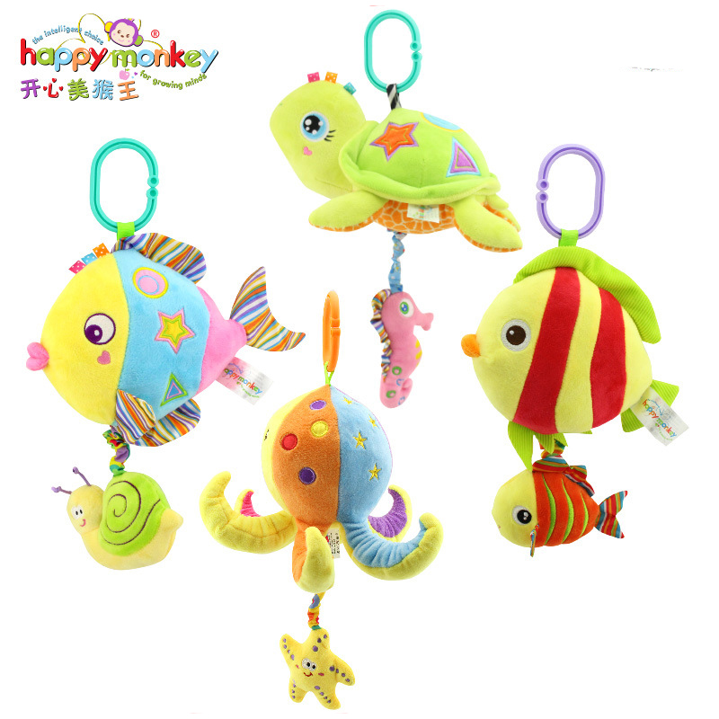 HAPPY MONKEY Baby Toys Rattles Toy Kids Soft Plush toys Baby Crib Bed Hanging Bells Toys for Stroller with music WJ460 2016 hot baby infant animal soft rattles bed crib stroller music hanging bell toy dog baby development gifts plush toys