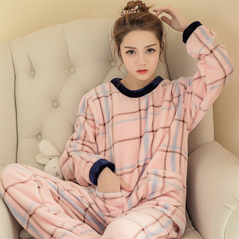 Autumn And Winter New Ladies Pajamas Thick Flannel Home Service Sets Of Cute Large Size Warm Women's Suit Soft Cartoon Pajamas