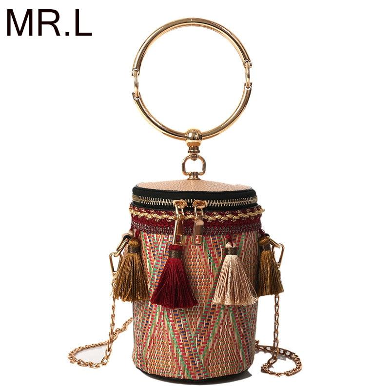 MR L Round Bohemia Style Straw Bag Handbags Women Summer Rattan Bag Handmade Woven Beach Circle Bohemia Handbag 2019 New Fashion in Top Handle Bags from Luggage Bags