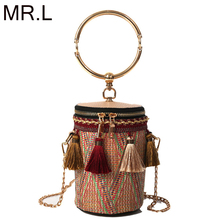MR.L Round Bohemia Style Straw Bag Handbags Women Summer Rattan Handmade Woven Beach Circle Handbag 2019 New Fashion