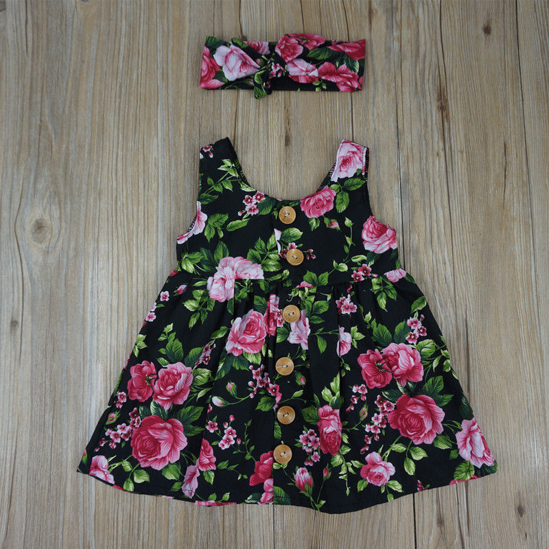 Summer Printed Floral Baby Girl Dress Newborn Infant Clothes Sleeveless Button Flower Birthday Princess Dresses Sundress in Dresses from Mother Kids