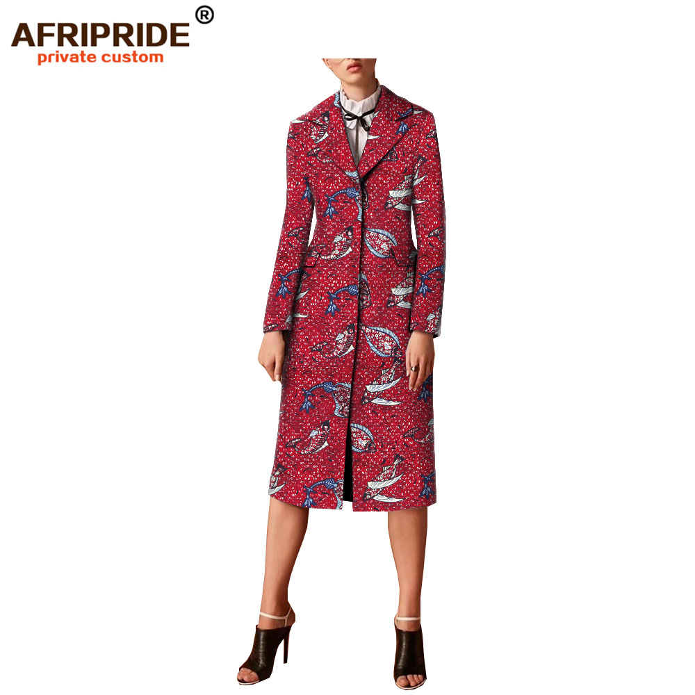 2019 spring&autumn ankara print casual trench for women AFRIPRIDE bazin richi full sleeves single breasted women coat A1824008