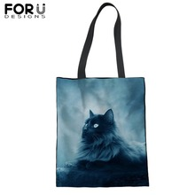FORUDESIGNS Blue Moon Cat Print Shopping Tote Bag Casual Beach Satchel Handbag For Lady Women Customize Shoulder Bags