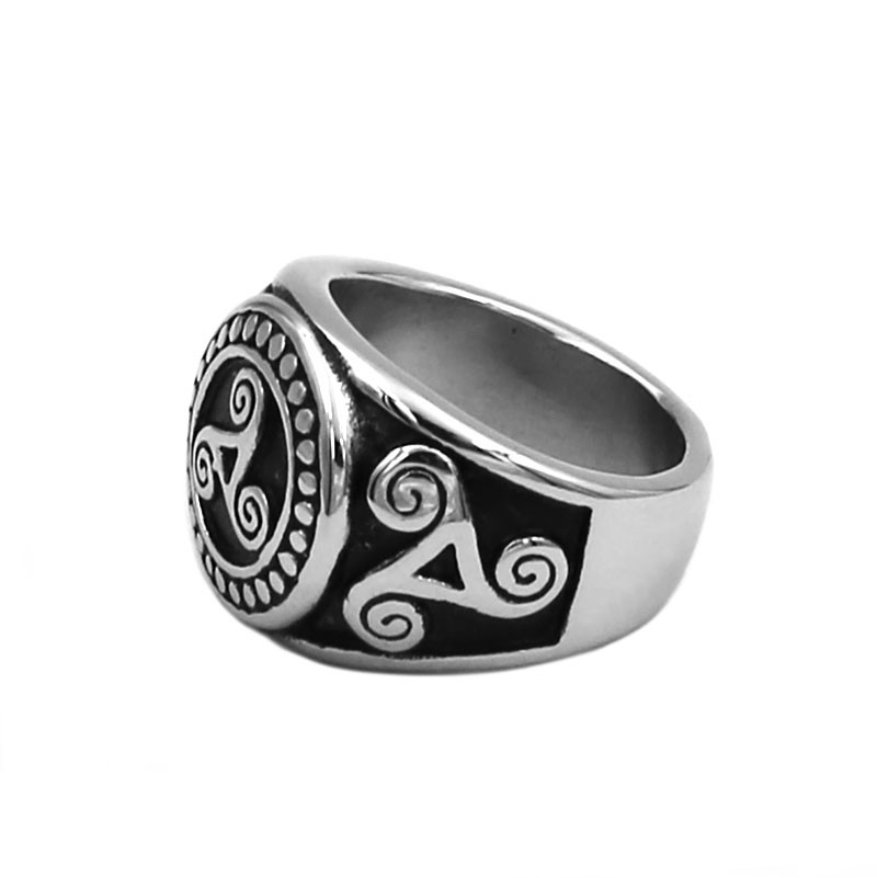 Celtic Knot Spiral Ring Stainless Steel Jewelry Norse Viking Triple