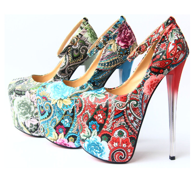 ФОТО High-heeled shoes 20cm thin heels flower national trend platform shoes small yards women's plus size shoes 43