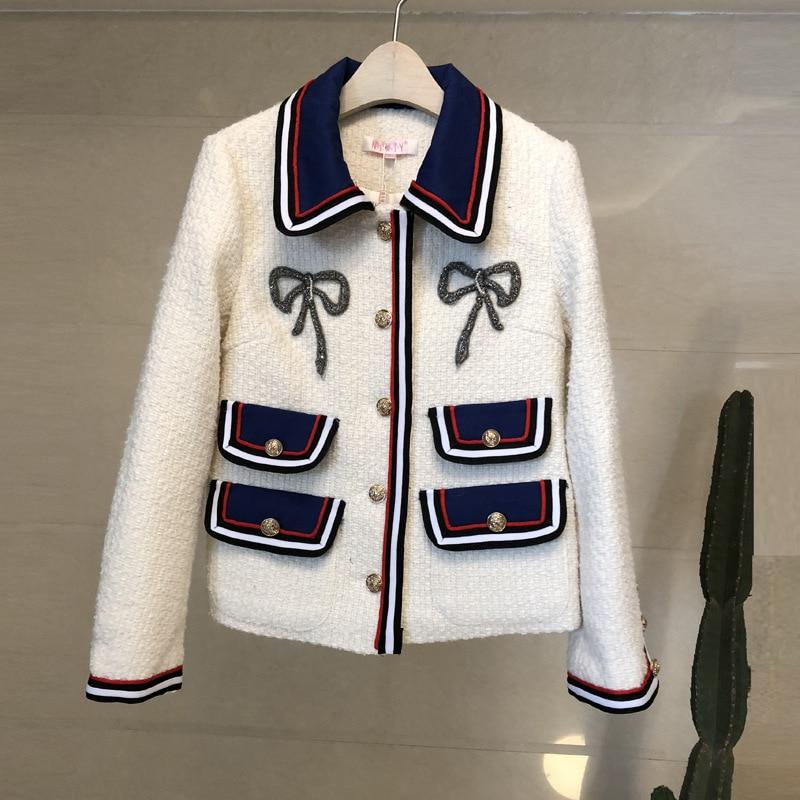 Poitrine noir Rayé Vestes Y198 Long Patchwork Tweed Laine Manteaux Automne 2019 Élégant ivoire De Style Arc Hiver Femmes White Perles Femme Unique xQrtsoCdhB