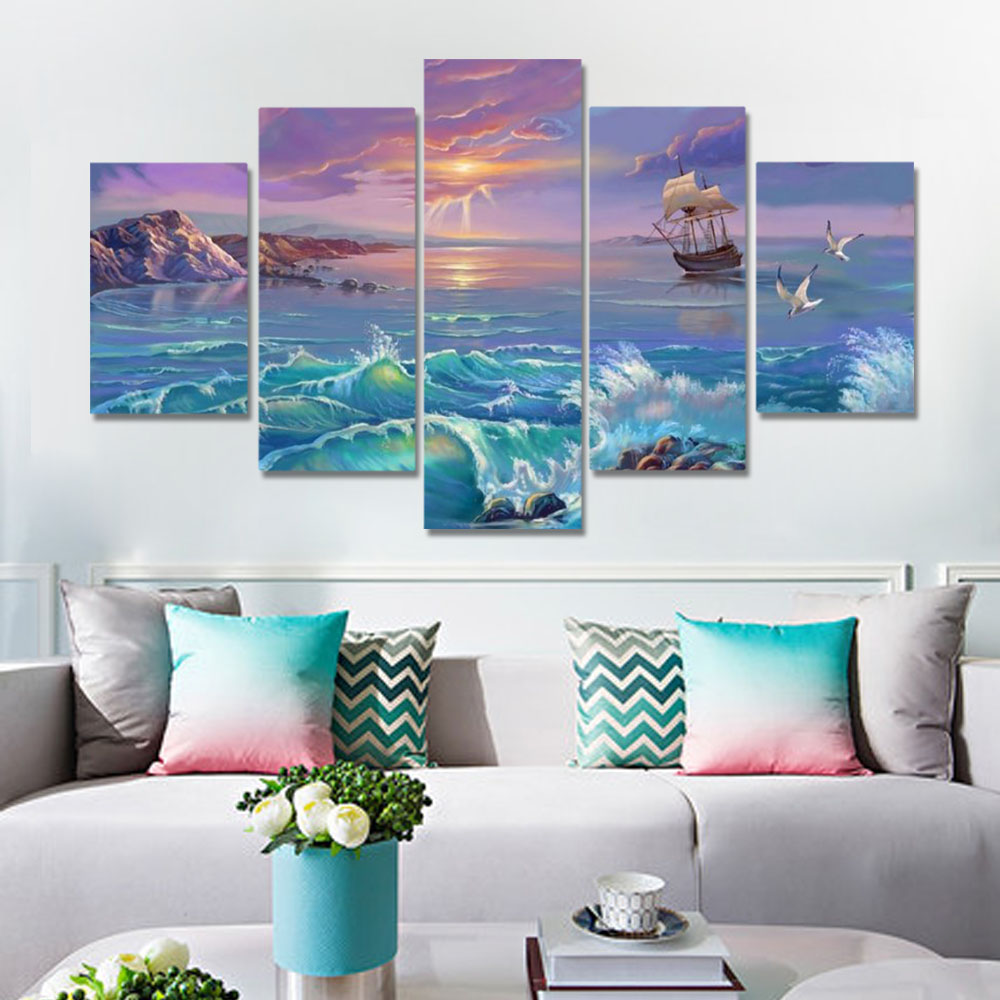 Unframed HD Canvas Prints Pink Clouds Spray Sailboat Seawater Seascape Prints Wall Pictures For Living Room Wall Art Decoration