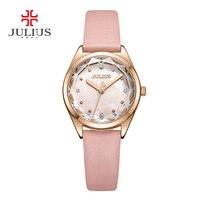 Top Julius Lady Women's Watch Elegant Rhinestone Mother of Pearl Fashion Hours Luxury Dress Bracelet Leather Party Girl Gift Box