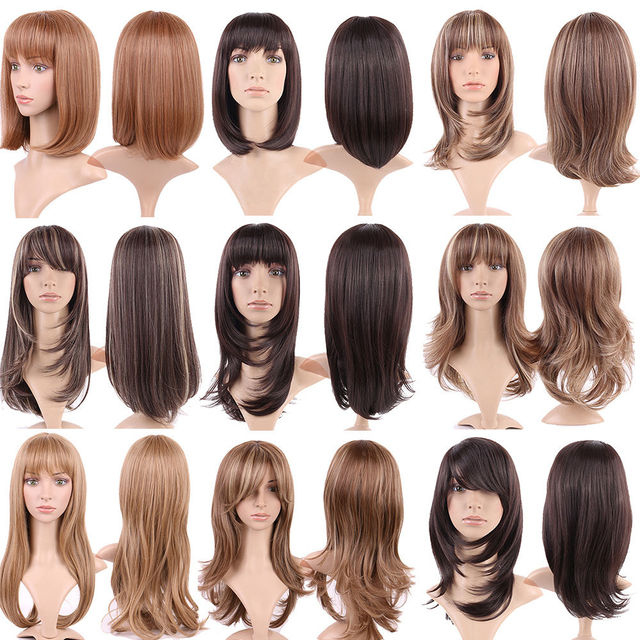 S noilite Ombre Synthetic Hair Wigs For African American Black Women Long Wavy Brown Mixed Two Tone Wigs With Bangs