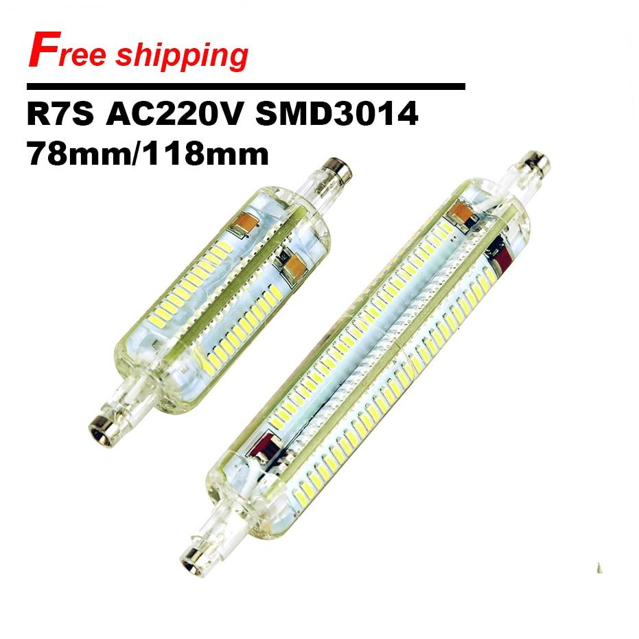On Sale R7S LED Sportlight AC220V Silicone 360 Degree 3014SMD 78MM 118MM LED Horizontal Plug Lights Flood Light Corn Lamp Bulb