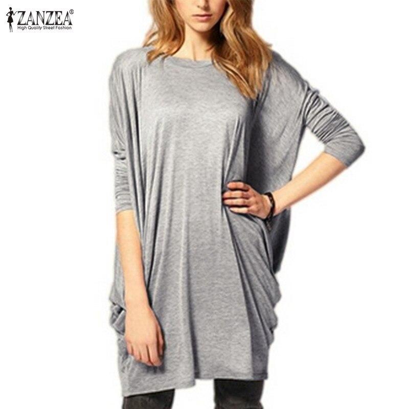 Zanzea 2019 vestido das mulheres camisas de manga longa das senhoras túnica causal topos camisa sólida feminina blusa femininas plus size 5xl