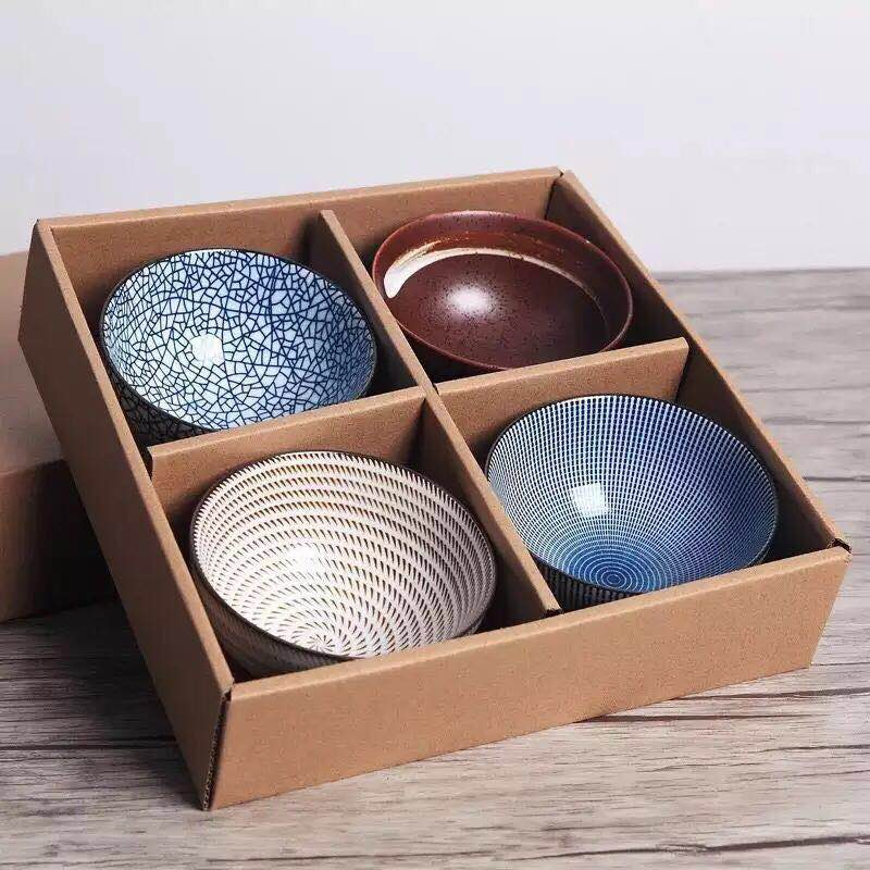 Set of 4 Japanese Traditional Ceramic Dinner Bowls 4.5inch 300ml Porcelain Rice Bowls with Gift Box Dinnerware Set Best Gift|porcelain rice bowl|dinner bowls|rice bowl - title=